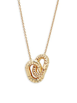 14K Yellow Gold Double Oval Pendant Necklace