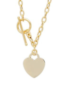 14K YELLOW GOLD HEART TAG PENDANT NECKLACE