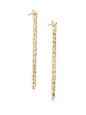 14K Yellow Gold Linear Drop Earrings