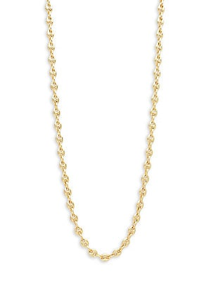14K Yellow Gold Puffed Mariner Chain Necklace