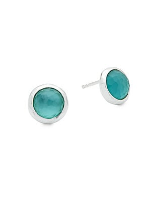 Sterling Silver Denim Stud Earrings