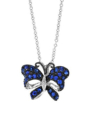 Click here for Royale Bleu Sapphire  Diamond and 14K White Gold B... prices