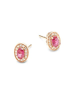 Oval Ruby, Diamond and 14K Rose Gold Earrings