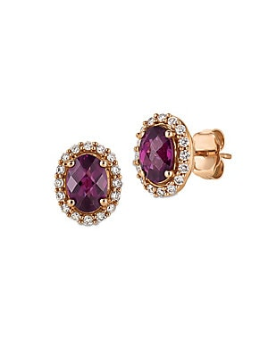 Le Vian Diamond, Rhodolite & 14K Rose Gold Stud Earrings
