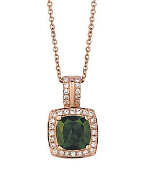 Le Vian Chocolatier Diamond, Diopside & 14K Rose Gold Square Pendant Necklace