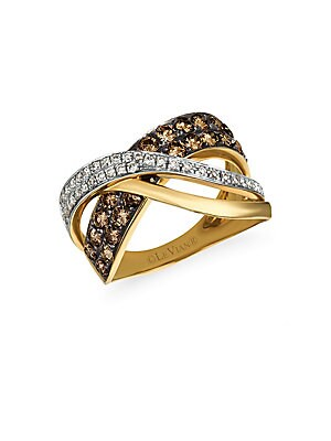 Le Vian Chocolatier Gladiator Weave Diamond & 14K Yellow Gold Midi Ring
