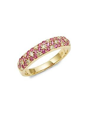 18K Honey Gold Passion Ruby and Vanilla Diamonds Three Row Ring