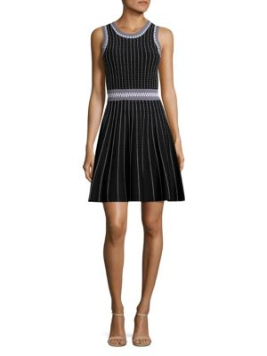 MILLY SLEEVELESS TEXTURED FIT-&-FLARE DRESS, BLACK