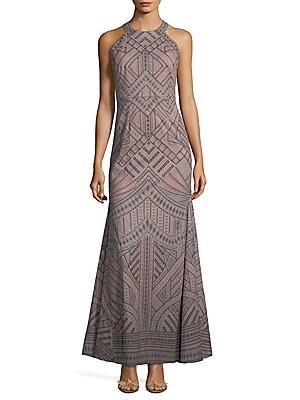 Geometric-Print Evening Dress