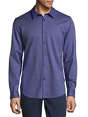 Embroidered Cotton Button-Down Shirt