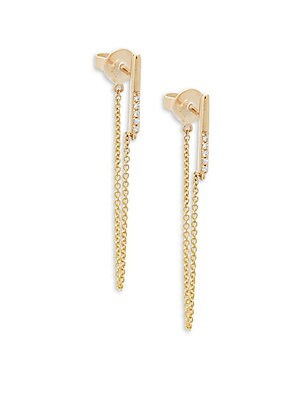 Click here for Diamond and 14K Yellow Gold Chain Earrings  0.03 T... prices