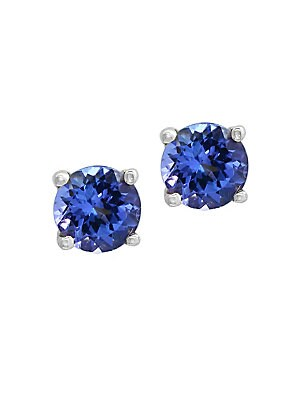 Tanzanite and 14K White Gold Stud Earrings