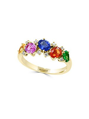 14K Yellow Gold and Multicolor Diamonds Ring
