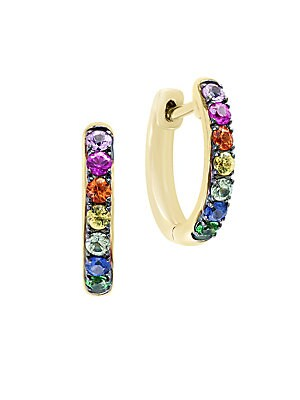 14K Yellow Gold & Multi-Color Sapphire Earrings