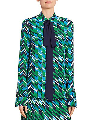 Bow Pleat-Front Silk Blouse