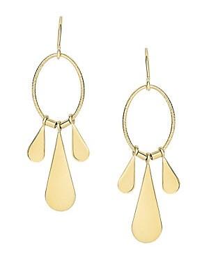 14K Yellow Gold Teardrop Chandelier Earrings