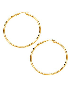 14K Yellow Gold Polished Round Hoops