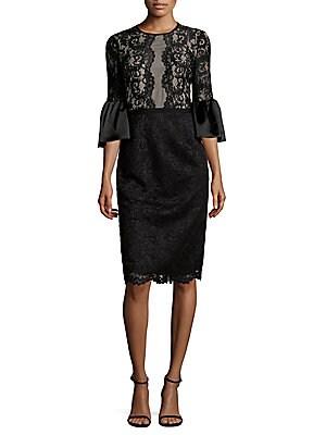 Flared-Sleeve Lacework Sheath Dress