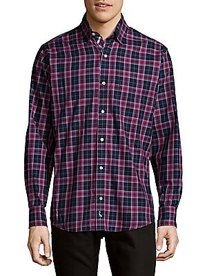 Plaid Cotton Button-Down Shirt