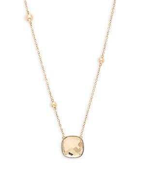 14K Yellow Gold and Quartz Pendant Necklace