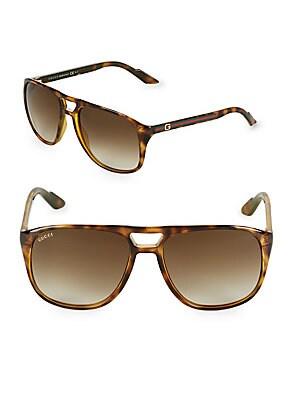 57MM Tortoiseshell Aviator Sunglasses