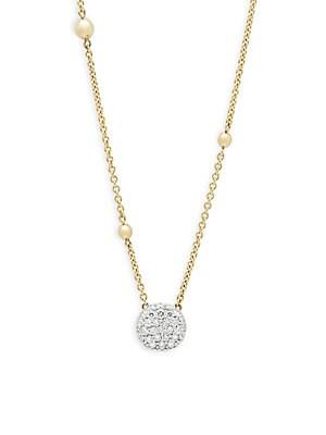 18K Yellow Gold & Diamond Pendant Necklace