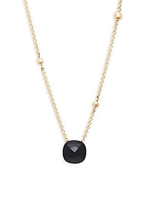 18K Yellow Gold Cushion Cut Onyx Necklace