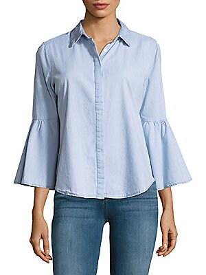 Flared-Sleeve Button-Down Shirt