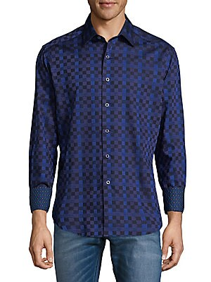 Weave Pattern Cotton Button-Down Pattern