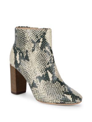 Rickie Cut Snake Embossed Zip-Up Booties
