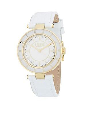 34MM White Case White Dial Logo Strap Watch