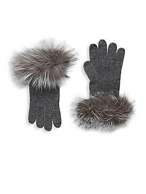Fox Fur Trimmed Cashmere Gloves