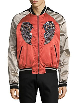 Embroidered Graphic Bomber Jacket