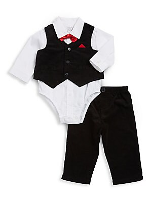 Baby's Three-Piece Cotton Buttoned Vest, Collared Bodysuit and Pants Set