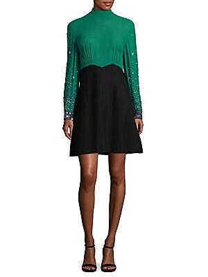 Embellished Colorblock A-Line Dress