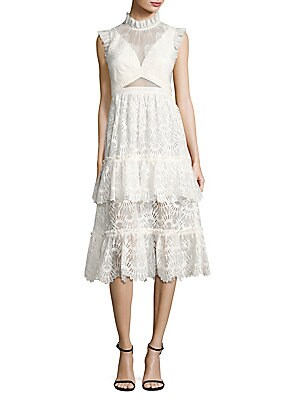 Serafini Ruffled Lace Midi Dress