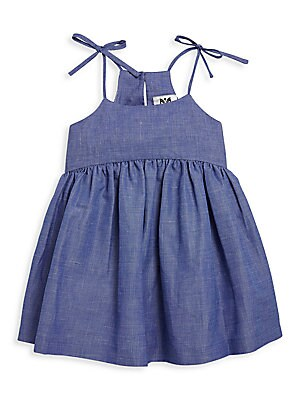 Girl's Chambray Bow Tank Dress