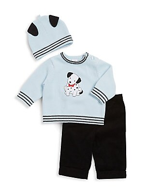 Baby's Three-Piece Cotton Sweater, Pants and Cap Set