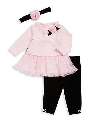Baby's Three-Piece Dress, Leggings, and Headband Set