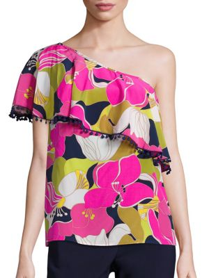 Kahe One-Shoulder Floral Print Top