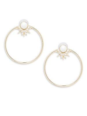 Faux Pearl and Crystal Hoop Earrings
