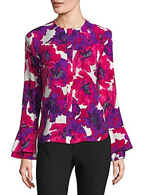Flared-Sleeve Floral Top
