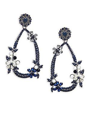 Floral Crystal Dangle Drop Earrings