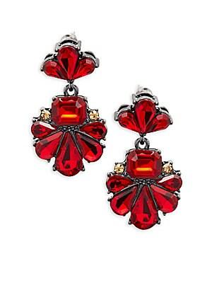 Floral Formed Crystal Dangle Drop Earrings