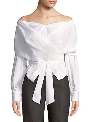 Cotton Off-The-Shoulder Belted Top