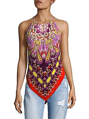 Asymmetrical Halter Silk Top
