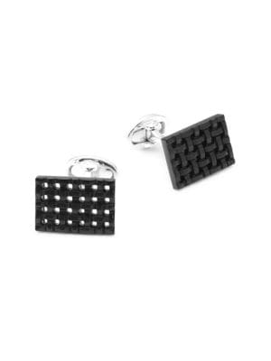Onyx and Sterling Silver Rectangle Cuff Links