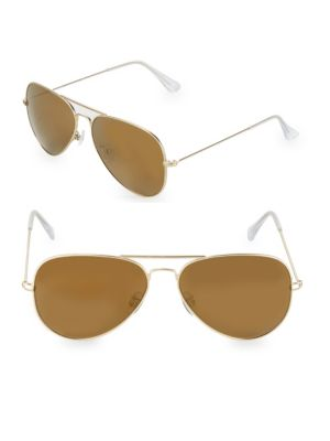 AQS James 58Mm Aviator Sunglasses in Gold Brown