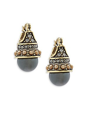 Faux Pearl and Crystal Clutch Earrings