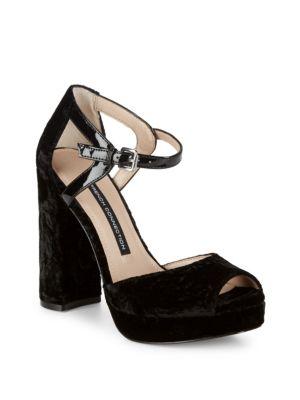 Peep-Toe Textile Block Heel Sandals